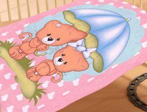 Κουβέρτα Βελουτέ Κούνιας 110X140 Dimcol Rainy Bears 06