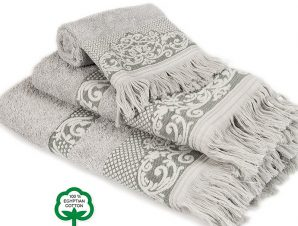 Πετσέτες Μπάνιου (Σετ 3 Τμχ) Dimcol Ίσιδα Γκρι 04