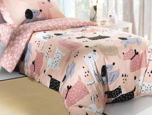 Σεντόνια Μονά (Σετ) 160X260 Saint Clair Doggy Pink Χωρίς Λάστιχο